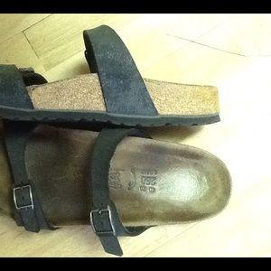 Birkenstock black leather sandals size 40